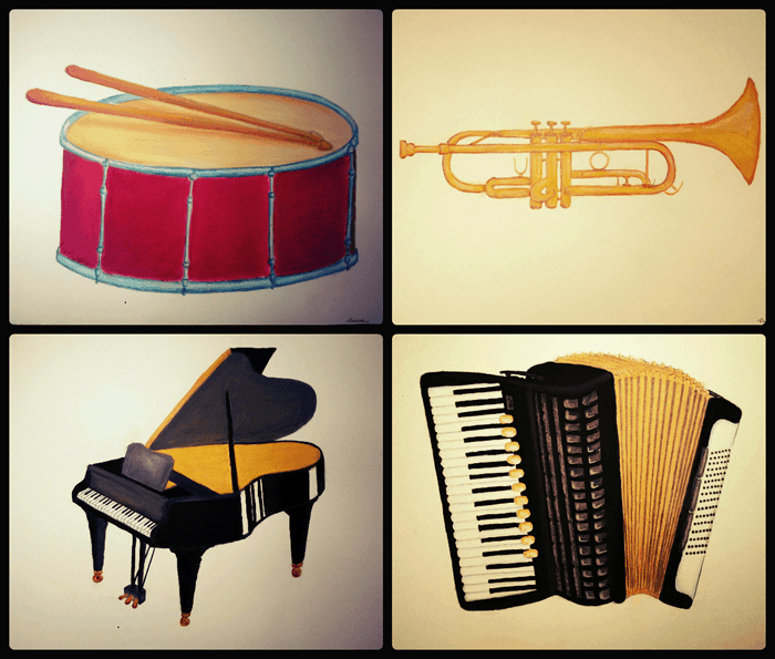 instruments drum trumpet piano accordion